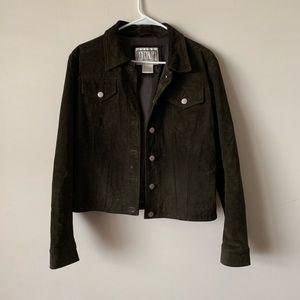 BB Dakota dark brown suede trucker jacket